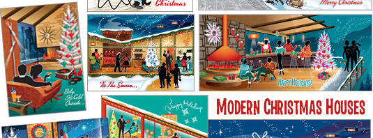 Mid Century Modern Christmas Houses variety packs