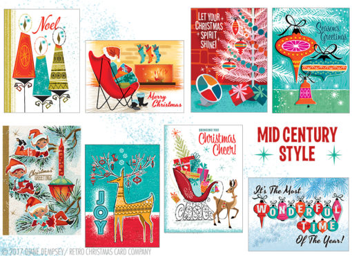 Mid-Century Style Christmas Card Variety Pack