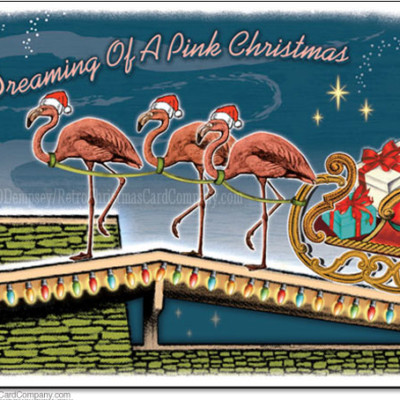 Pink Flamingos Christmas Cards