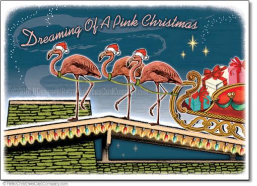 Pink Flamingos Christmas Cards