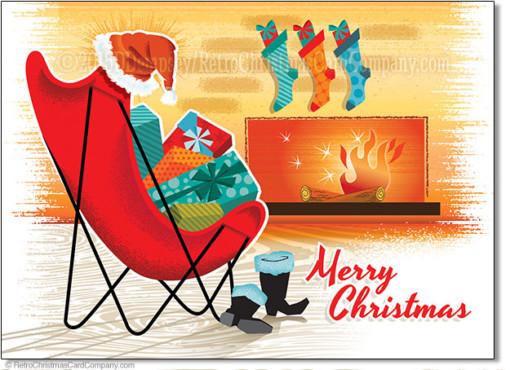 Retro Fireplace Christmas Cards