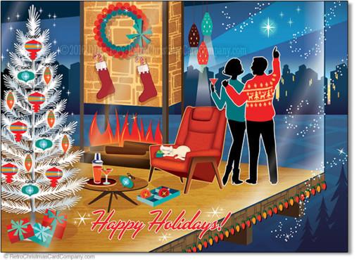 Mid Century Modern Romantic Christmas Cards