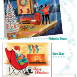 Mid-Century Modern Homes Christmas cards