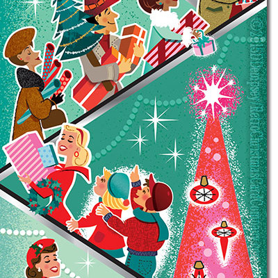 Retro Christmas Shoppers Christmas Cards