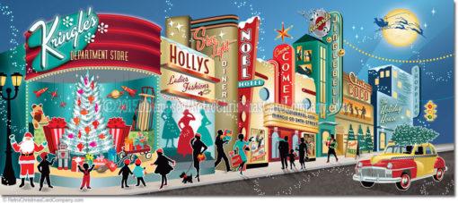 Vintage Main Street Christmas Cards