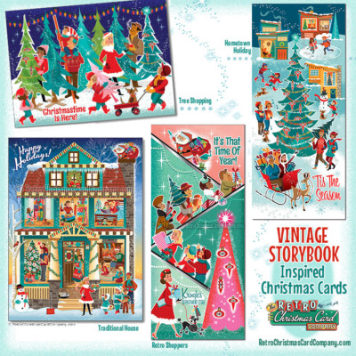 Vintage StoryBook Inspired Christmas Cards